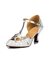 TDA Women's Pointed Toe T-strap Fashion Glitter Sequins PU Leather Latin Dance Ballroom Tango Party Wedding Pumps