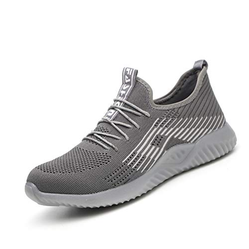 UPSTONE Safety Shoes for Men, Work Construction Sneakers, Breathable Lightweight Comfortable Steel Toe Shoes for Women, 115 Grey 47