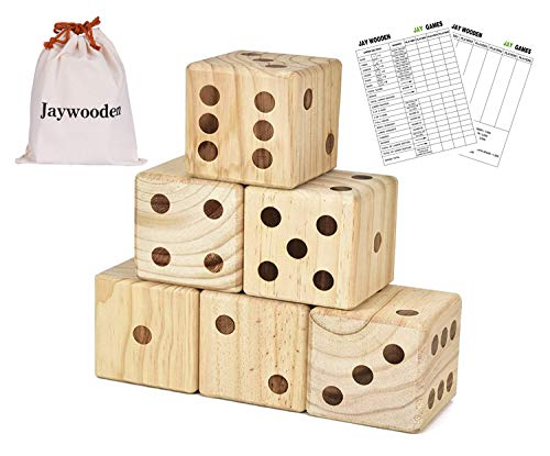 (Giant Wooden Yard Dice, 3.5 in 6 PCS Yard Dice Game Set Wooden Dice for Kids Outdoor Giant Dice with Carrying Canvas Bag &Scoreboard)