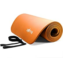 YES4ALL 1/2-Inch Extra Thick High 72-Inch Long High Density NBR Exercise Yoga Mat for Pilates, Fitness & Workout with Carrying Strap