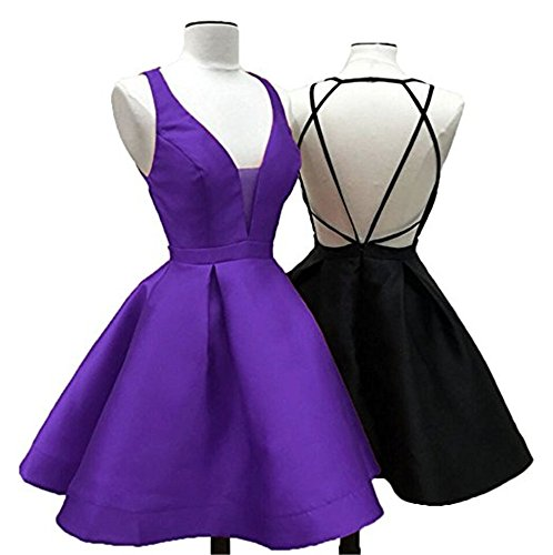 Homecoming Short A Spaghetti Women's line Dresses Gowns Prom Backless Purple Straps DreHouse wB01Hq