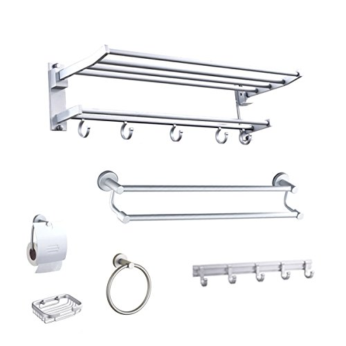 6 pcs Home Hotel Bath Accessories Set Towel Bar Bathroom Soap Holder Racks Tools by New