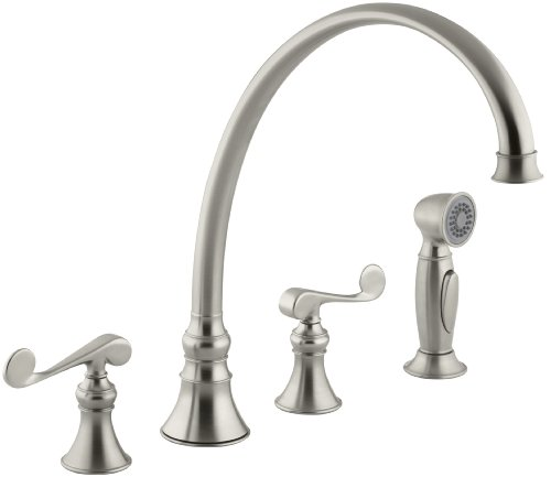 Faucet 12' Swing Spout - KOHLER K-16111-4-BN Revival Kitchen Sink Faucet, Vibrant Brushed Nickel