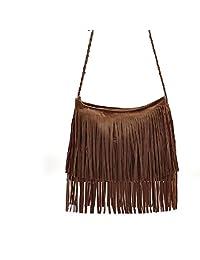 Women's Crossbody Zipper Woven straps Bag Fringed Single Shoulder Bag With Tassels