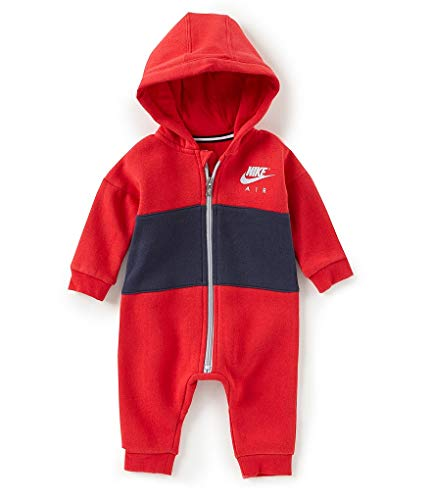 Nike Infant All Day Play Fleece Coveralls (3-6 Months, University Red(56C828-U10)/Obsidian)