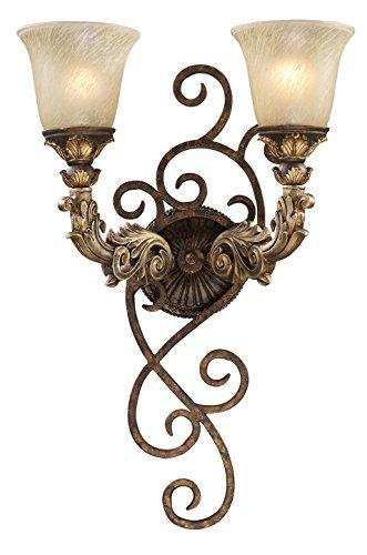 Regency 2 Light Wall Sconce in Burnt Bronze and Gold Leaf (Gold Leaf Burnt Sconce)