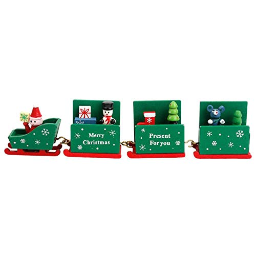 Noon-Sunshine decorative-plaques Wooden Christmas Train Christmas Decorations for Home Xmas Little Train Year Gift 2019 Party,Style 9 -