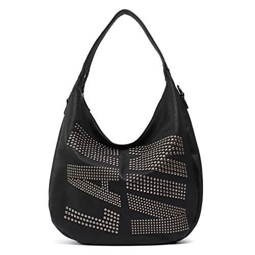 Women Faux Leather Hobo Shoulder Bag Black