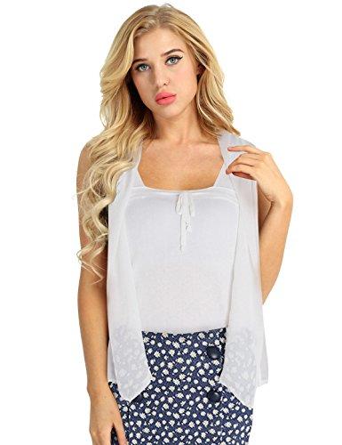 FEESHOW Womens Open Front Lace Cardigan Sleeveless Long Asymmetric Drape Hem Vest White Large