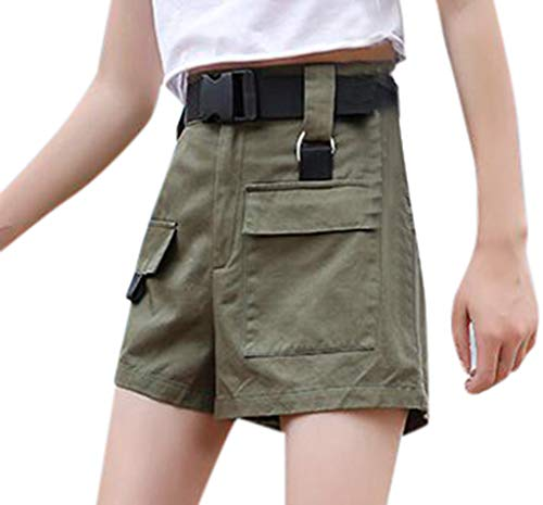JOFOW Cargo Shorts Womens Casual Military Solid Loose High Waist A Line Mini Pants Pockets Fashion Cool Street Chino Trousers Army Green