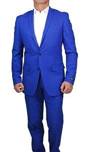 B00K9Z9N3Q Bar III Men`s Suit Cobalt Blue Solid Slim Fit Suits (38R)