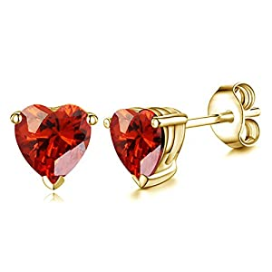 Vorra Fashion Women's Silver Studs Earrings For Women's Gift Heart Shape Red Garnet 14k Gold Plated