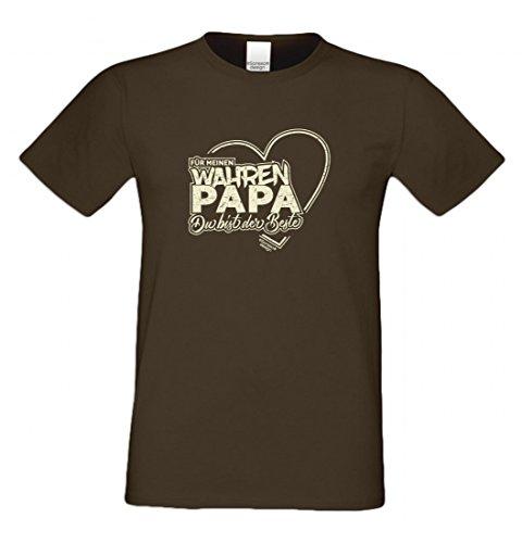 T-Shirt als Geschenk für den Vater - Motiv mit Herz - Ein Dank für den wahren Papa mit Humor zum Vatertag oder einfach so, Größe 5XL Farbe 09-Braun