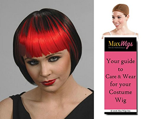 2 Tone Pageboy color Black/Lime - Enigma Wigs Anime Cosplay China Doll Goth Straight Bangs Vampiress Bundle w/Cap, MaxWigs Costume Wig Care Guide -