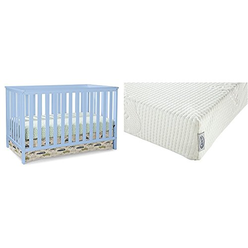 Stork Craft Rosland 3 in 1 Convertible Crib, Sky Blue with Graco Natural Organic Foam Crib and Toddler Mattress