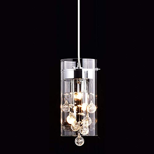 CLAXY Ecopower Lighting Glass & Crystal Pendant Lighting Modern Chandelier for - Kitchen Lighting Contemporary