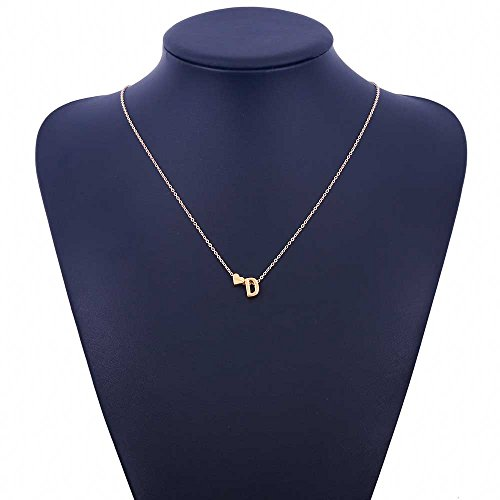Love Heart Letter Alphabet Pendant Necklace Initial Charms For Women Jewelry D onesize ()