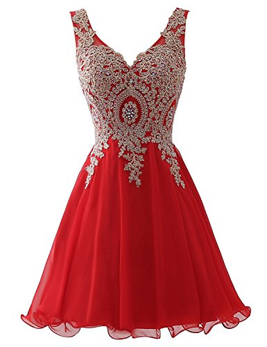 Pink Corset Dress (Clearbridal Women's 2018 Short Tulle Applique Beading Red Homecoming Dress Prom Party Gowns)