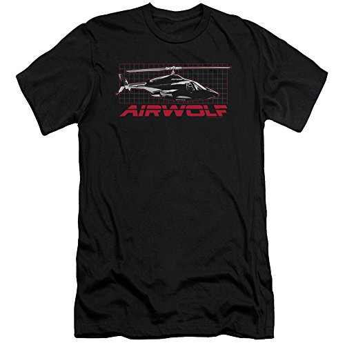 Airwolf Helicopter Military Action TV Series Grid Adult Slim T-Shirt Tee ()