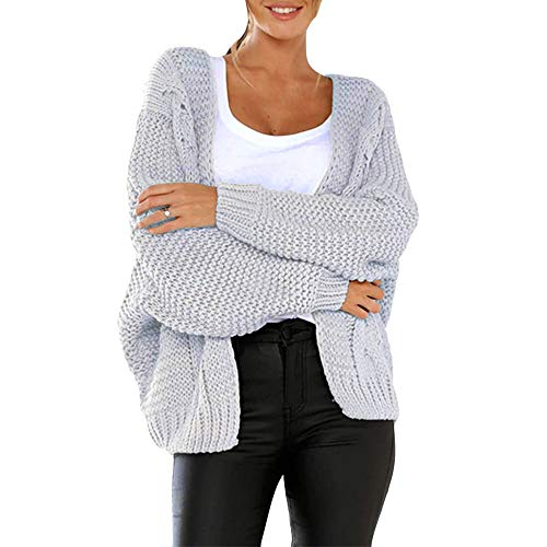 - Franterd Women Warm Solid Baggy Long Sleeve Cardigan Knitted Sweater Fall Solid Loose Coat Outwear Top