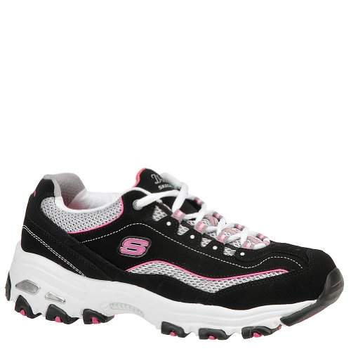 Skechers D'Lites Centennial Women's Casual Sneakers, Black/White/Pink, 7 2E US