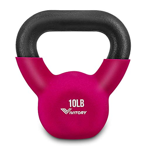 VIVITORY Neoprene Coated Kettlebells, Solid Cast Iron, 5, 5-30 Pounds, for Men and Women to Strength Training and…