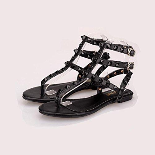 tobillo del zapatos Strap del T dedo de la del del del plano pie Sandalias QPYC las de correa de hebilla la mujeres de remache playa talón correa black verano doble correas cruzadas wZX46q