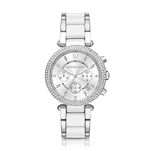 Michael Kors Parker White / Silver Chronograph Watch
