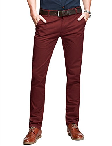 Flat Front Casual Pant (Match Mens Slim-Tapered Flat-Front Casual Pants(8025 Wine red, 32W x 31L))