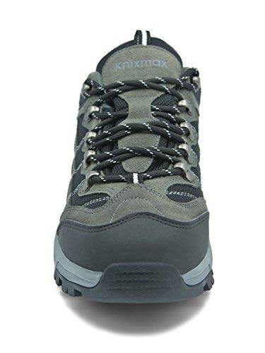 Escalada de Paseos Zapatillas Montaña de Impermeable Gris Mujer Senderismo Marrón Outdoor Antideslizante Gris Zapatos Top Knixmax Deportivo de Trekking Zapatillas de Low para Viajes Calzado v74ER