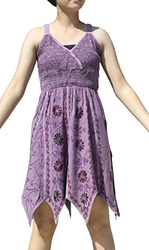 RaanPahMuang Wild Pixie Angle Cut Crop Sac Spaghetti Strap Dress Crumple Front, Small, Plum Violet (Pixie Cut Dresses)