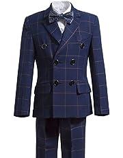Gele Boys 5 Pieces Formal Suits,Slim Fit Tuxedo Set