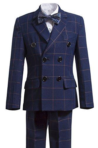 Gele Boys 5 Pieces Formal Suits,Slim Fit Tuxedo Set (14, Plaid Navy (Navy Plaid Suit)