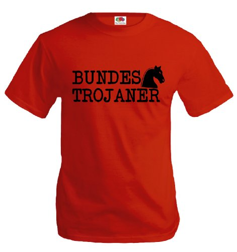 T-Shirt Bundestrojaner-L-Red-Black