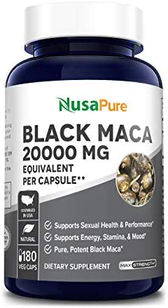 Black Maca Root 20000mg 180 Veggie Capsules Vegetarian, Non-GMO, Gluten Free Max Strength, Maca Root Extract Supplement from Peru – Support Reproductive Health
