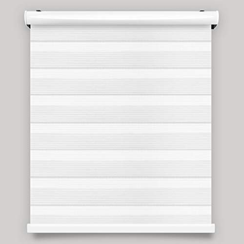 Cordless Zebra Roller Blinds Sheer Shades/Free-Stop Combi Blinds, Dual Layer, Sheer or Privacy – White, 61″ W X 72″ H