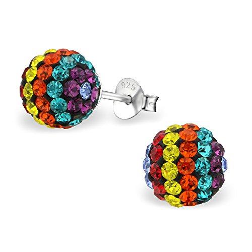Rainbow Crystal Earrings (925 Sterling Silver Hypoallergenic Rainbow Crystal Ball Stud Earrings for Women or Girls 10099)