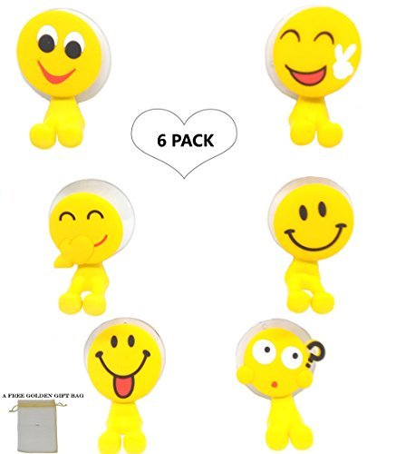 Emoji Toothbrush Holder Set for Kids, Perfect Fun for Motivating Children to Brush Teeth, 6 Pack Wall Mounted Heavy Duty Suction Cup Hooks, Decor for Shower, Bathroom, Garage, Office, Birthday Gift