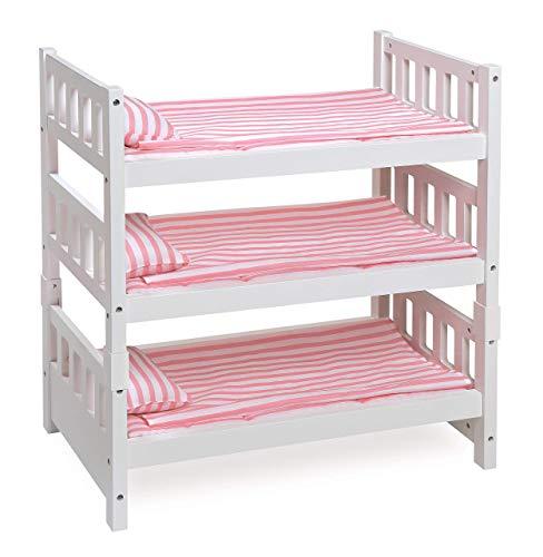 Badger Basket 1-2-3 Convertible Doll Bunk Bed (Fits American Girl Dolls), White/Pink Stripe (Renewed)
