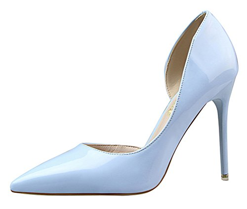 y Versatile D'orsay Stiletto High Heels Closed Pointed Toe Pumps Shoes (8 B(M) US,SkyBlue) (Metro 8 Bottle Wall)