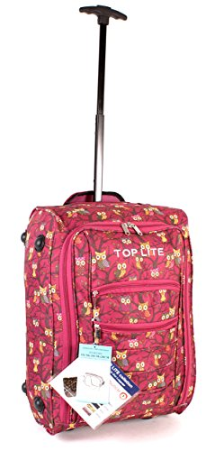 CABIN WB OP 01 RED MAGENTA Owl Print Two Wheeled Light Cabin Suitcase Hand Luggage Flight Travel Bag