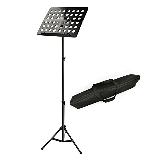 Music Stand Extra-Light Adjustable Sheet Music Stands Folding Music Sheet Holder For Music Sheet, Instrument Books with Carrying Bag By Hricane - Black ()