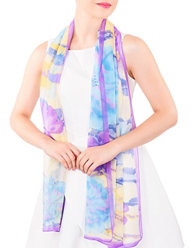 ADVANOVA Mother's Day Gift for Women 100% Silk Floral Scarf Evening Wrap Wedding Shawl Gift Box