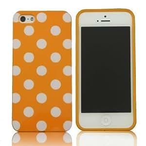 SUPWISER-5SYUANDIAN12 New Polka Dot Gloss Flex Gel Case For iPhone 5/5S Orange/White Dot