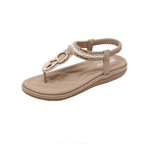 (Boomboom Summer Sandals Bohemian Sandals, Ladies Flip Flops Beach Shoes Clip Toe Shoes (Khaki,US 8))