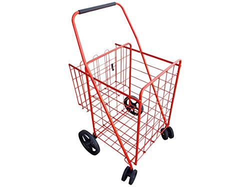 Portable Double Basket Heavy-Duty Folding Shopping Cart w/Front Swivel Wheels - Fits in Trunk OR Back Seat - Never Make Two Grocery Trips Again - RED