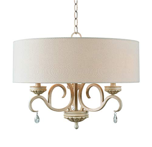 Kenroy Home 93907WH 3 Light Drum Rustic Chandelier, Weathered White Finish with Gold Highlights (Highlights Chandeliers Finish Gold)