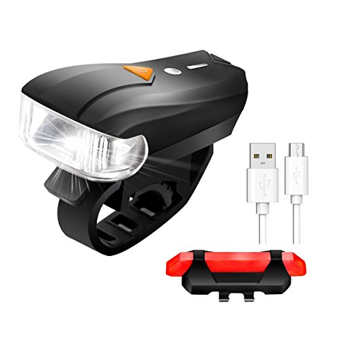 USB Rechargeable Bike Light Set,SCODE Ultra Bright 400 Lumens Five Mode Front Light and Four  Mode LED Tail Light Set,Waterproof ,Splash-proof,Easy Install&Quick Release, Fits All Bikes