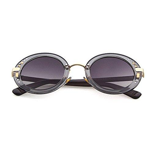 para Conducir Playa UV de de C3 Completo C3 de Gu Remaches Redondo Mujer Color Peggy Protección Decoración de Marco Gafas Sol Verano Vacaciones qT4ZWw6U