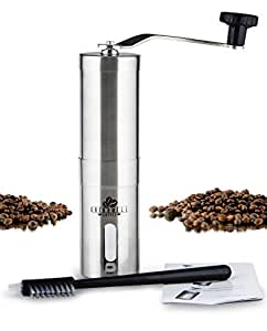 Grindwell - Adjustable Ceramic Burr Manual Coffee Grinder Mill with Cleaning Brush - for French Press, Drip, Espresso, Pour Over, Aeropress, Chemex